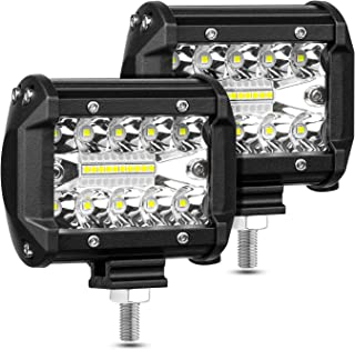 LED Pods, AAIWA 4 Inch 120W LED Light Bar, 2PCS 12000LM Spot Flood Combo Off Road Light Triple Row LED Work Light Driving Fog Lamps for Pickup Truck Jeep ATV UTV SUV Boat Light