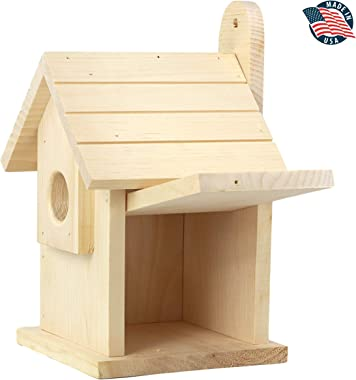 "ALPINE WOODS Bird House - Bird Houses for Outside – Handmade Bluebird House – 9""x 6""x 6"" Bluebird Houses - Wooden"