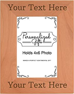 Customized Picture Frame Your Message Personalized Wood Engraved 4x6 Portrait Picture Frame