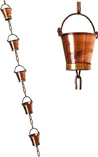 U-nitt 8-1/2 feet Pure Copper Rain Chain for Gutter: Bucket Cup 8.5 ft Length #8146