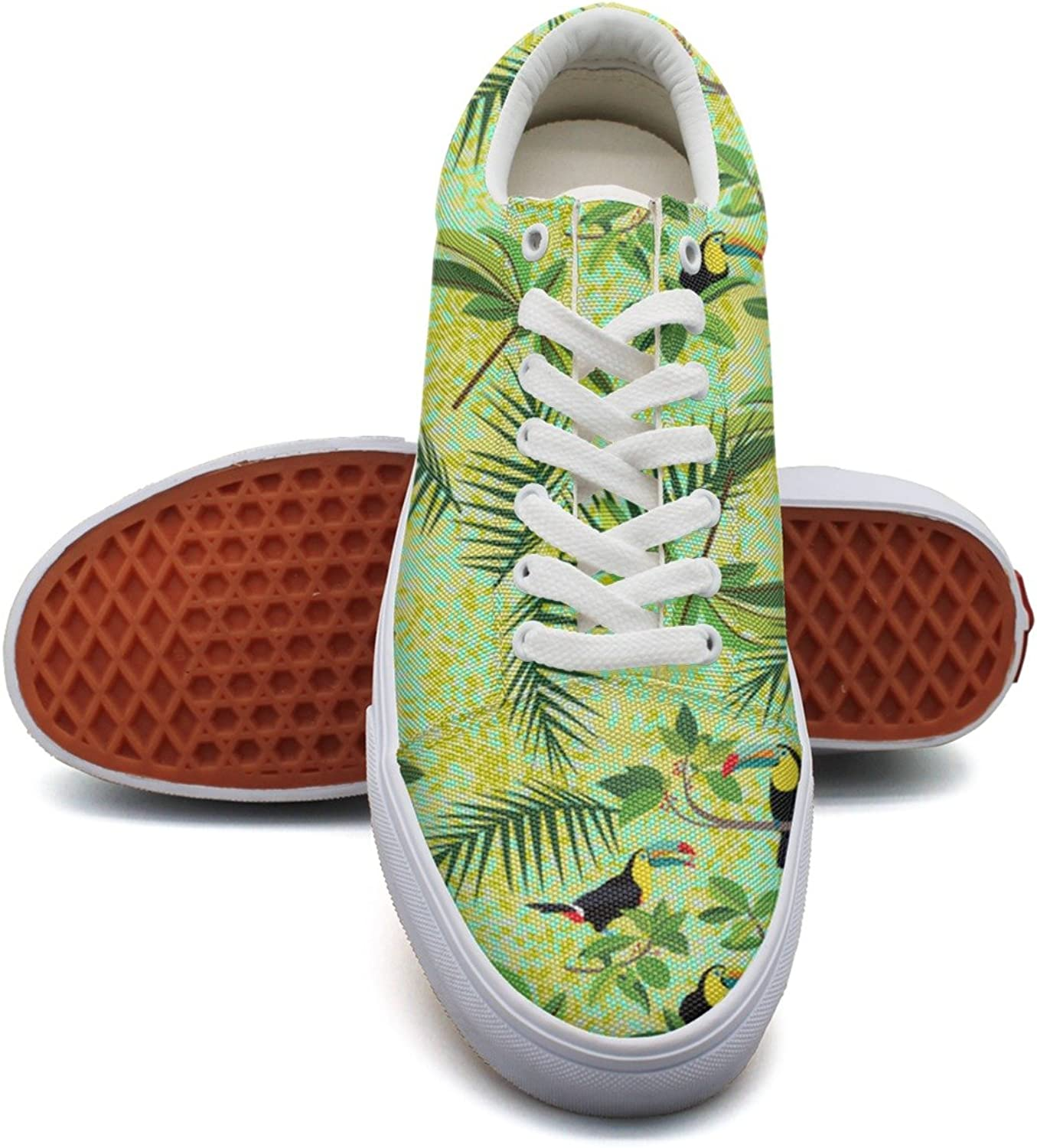 Green Toucans Tropical Birds Womens Denim Canvas Deck shoes Low Top Classic Athletic Sneakers for Women's