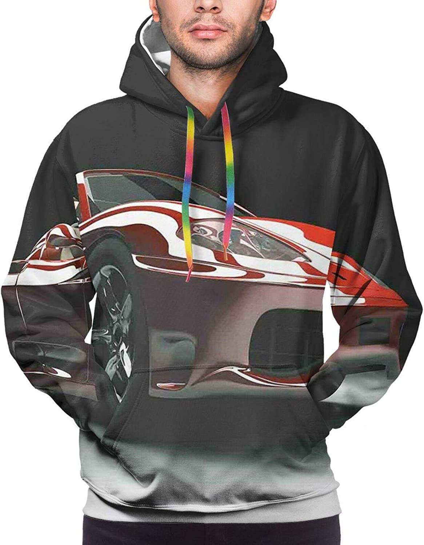 TENJONE Men's Hoodies Sweatshirts,Automotive Industry Theme Powerful Engine Fast Technology Prestige Performance