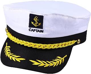 Yacht Boat Ship Sailor Captain Costume Hat Cap Navy Marine Admiral (White)
