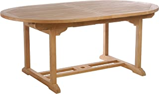 Teak Elzas Outdoor Patio Oval Extension Table, Made from Solid A-Grade Teak Wood