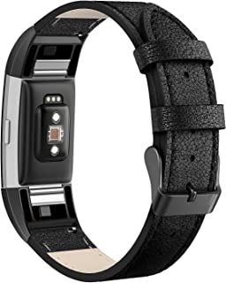 SWEES Leather Bands Compatible with Fitbit Charge 2,  Genuine Leather Replacement Large (6.4 - 8.3) Wristband Women Men,  Black,  Coffee Brown,  Blue,  Retro Brown,  Dark Brown
