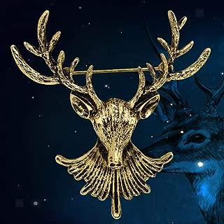 Silver Gold DEER BROOCH Stag Elk Reindeer Antler Hunter 3D Animal Head Pin Daily Aesthetic Party Girls Design Womans Delicate Elegant Cute | Color - Silver