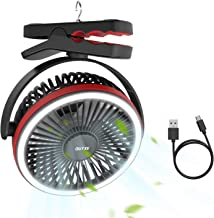 OUTXE Camping Fan with LED Light 5000mAh/6700mAh Clip-On Tent Fan with Hanging Hook USB..