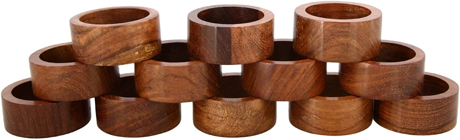 Artisan Crafted Rustic Wooden Napkin Rings Set of 8 for Dinner Table Decoration