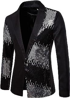 ZZLBUF Men's Sequin Blazer Coat, One Button Peaked Lapel Party Dinner Wedding Dress Suit Jacket