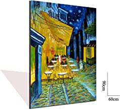 Asdam Art Van Gogh Paintings- Cafe Terrace at Night by Vincent Van Gogh 3D Oil Painting on Canvas Reproductions Hand Painted Abstract Wall Art