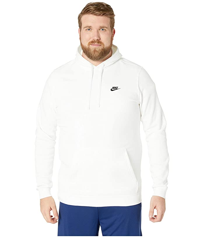 Nike Big Tall Club Fleece Pullover Hoodie (White/White/Black) Men