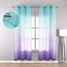 Teal Purple Curtains 63 Inch Length for Girls Room Decor Set 2 Grommet College Dorm Essentials Window Sheer Ombre Girls Fu...