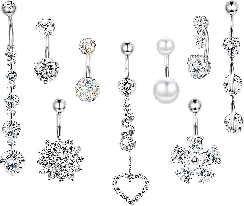 DOLOTTA 9Pcs 14G Stainless Steel Dangle Belly Button Rings for Women Navel Rings Body Piercing Jewelry