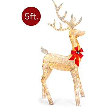 Best Choice Products 5ft 3D Pre-Lit Gold Glitter Christmas Reindeer Buck Holiday Yard Decoration w/ 150 Incandescent Lights, Red Bow, Stakes & Zip Ties