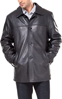 BGSD Men's Samuel New Zealand Lambskin Leather Car Coat (Regular and Big & Tall Sizes)
