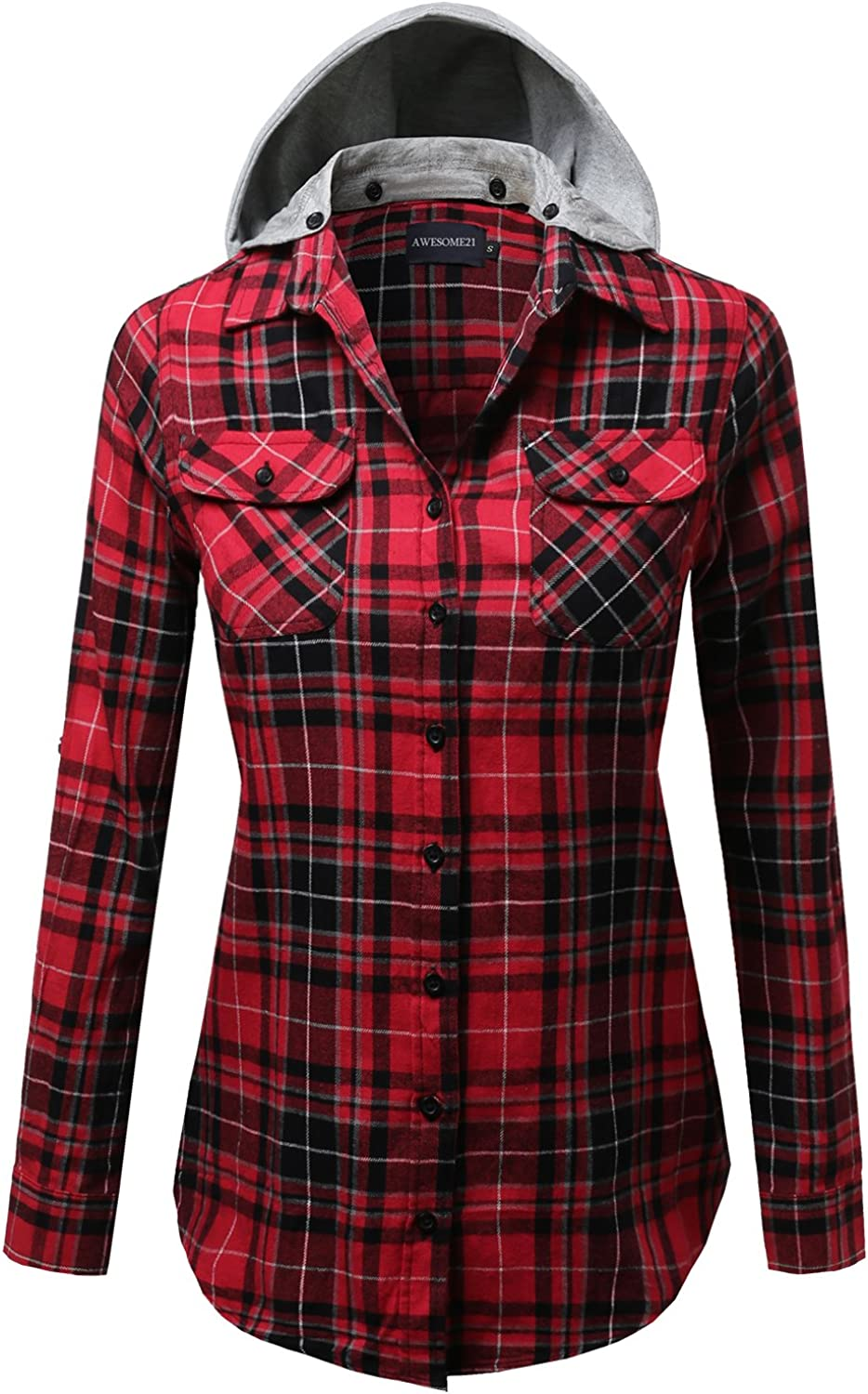 Awesome21 Womens Casual Hooded Flannel Plaid Shirt Clothing, Shoes ...