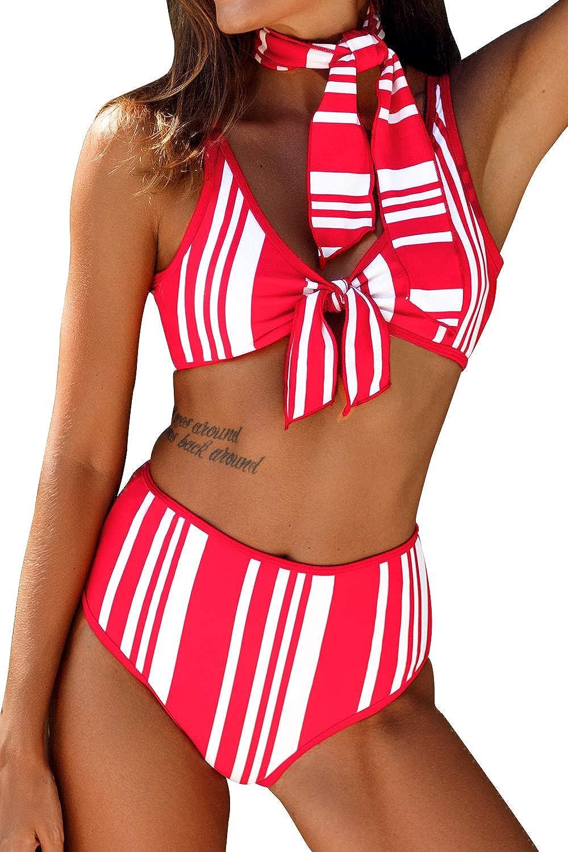 CUPSHE Women's High Waisted Red White Stripe Neck Tie Bikini Swimsuit Sets