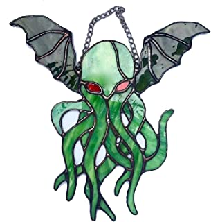 Cthulhu Suncatcher, 10Inch Stained Glass Window Hangings, Hangs from a Chain, Handcrafted Color Hanging Decor for Home Win...