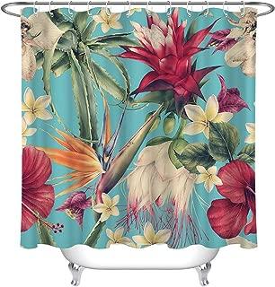 LB Vintage Tropical Island Flower Plant Shower Curtain for Bathroom, Hawaiian Leaves Hibiscus Plumeria Orchid Floral Bathroom Set, 70 W x 78 L Extra Long, Waterproof Fabric Curtain