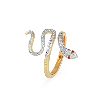 Certified Handcrafted 14K Yellow Gold Crawling Snake With 0.25 Carat Natural Diamond (H I Color, Vs2 Si1 Clarity) And 0.02...