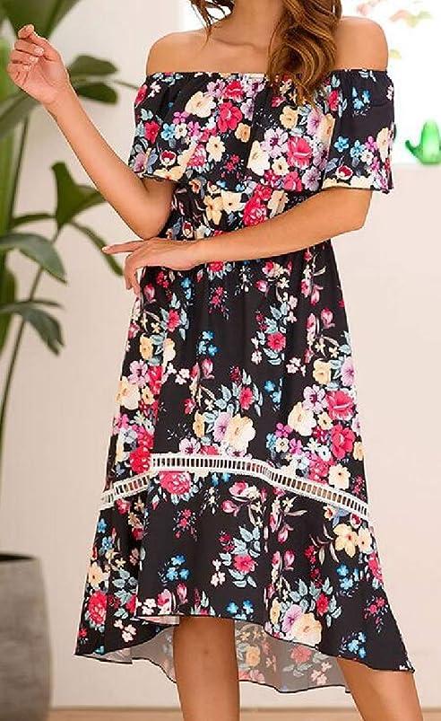 Tymhgt Women Floral Ruffle Off Shoulder Party Summer High Low Midi Dresses qoqlmneq395858