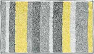 iDesign Microfiber Stripz Bath Rug, Machine Washable Microfiber Accent Rug for Bathroom, Kitchen, Bedroom, Office, Kid's Room, 34