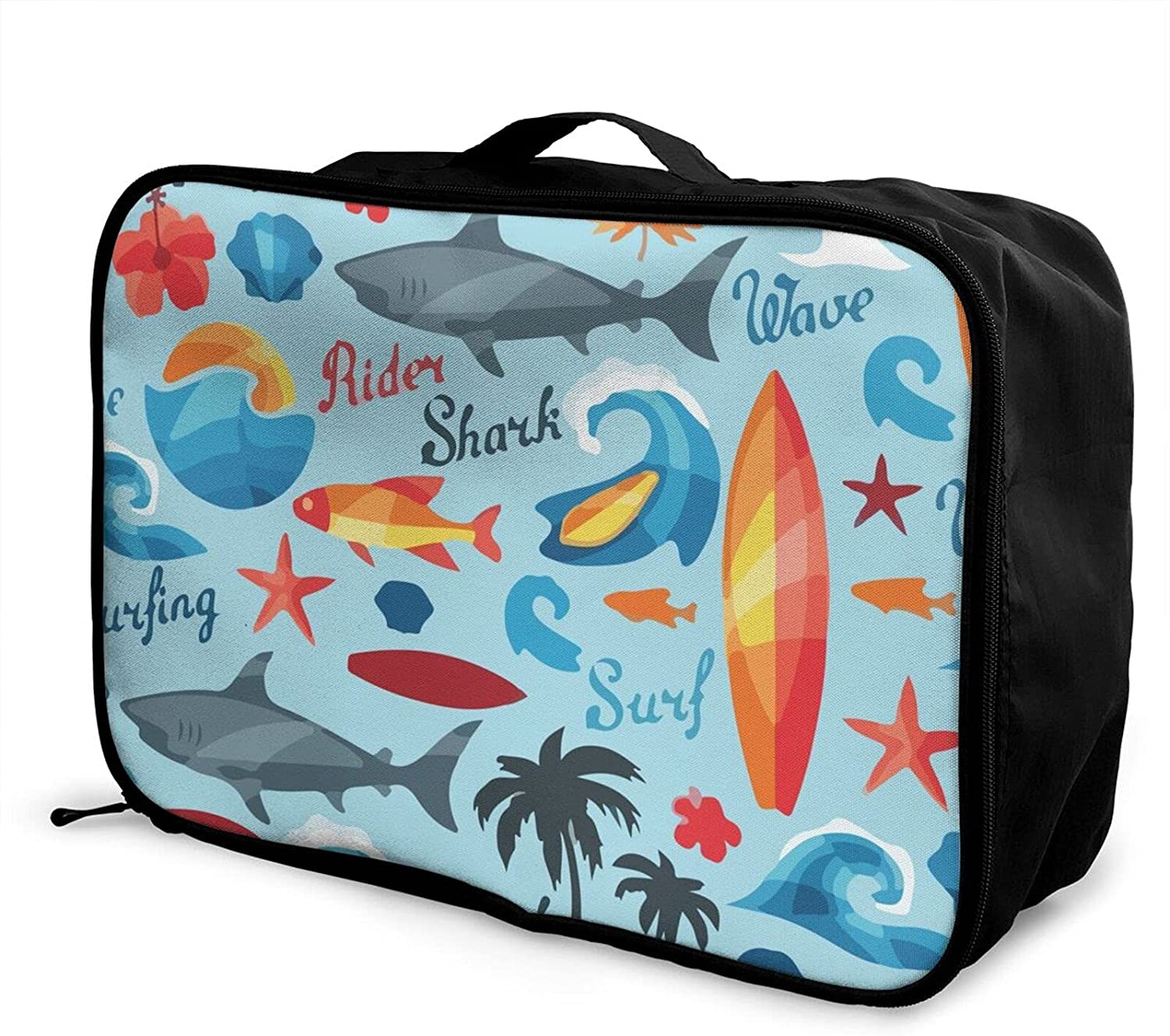 Foldable Don't miss the campaign List price Travel Bag Tote Funny Carry-On Shark Surfing Beach