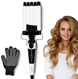 Hair Crimper, janelove Hair Waver 16mm (0.62'') 5 Barrel Curling Iron with LCD Display, Temperature Adjustable Quick Heat ...
