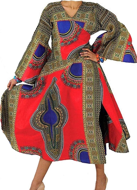 Decoraapparel Wrap Around Dress Womens Maxi Dashiki Caftan Long Kaftan Multi colors Cotton Wax