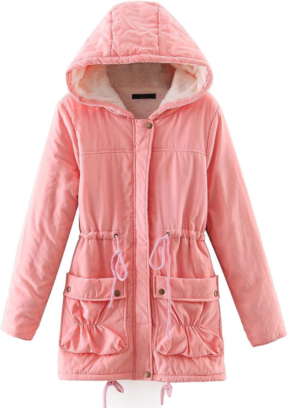Chartou Women's Lovely 国産品 Thicken Zip-Fly Fleece Lambswool L Hooded 大規模セール