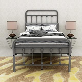 BOFENG Metal Bed Platform with Headboard and Footboard/Mattress Foundation/Box Spring Replacement/Bed Frame (Twin)