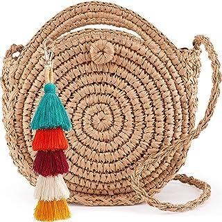 Womens Round Handbag Handmade Straw Woven Sea Beach Shoulder Bags Purse