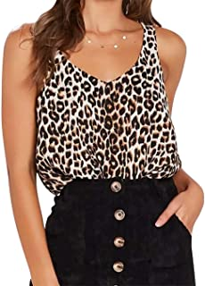 Women's Leopard Print Strap Crop Sexy V-Neck Funny Tank Tops Summer Casual Sleeveless Cami Vest
