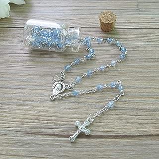 Baptism Favor (12PCS) Holy Communion Rosary in Glass Bottle Jar Recuerdos De Bautizo Quinceanera Blue Pearl Christening Recuerdos para Primera Comunion Niño Quinceanera/Gift for Guests