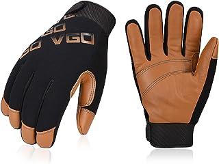 Vgo 3Pairs -4℉ or above 3M Thinsulate C100 Winter Warm Waterproof Light Duty Mechanic Glove,High Dexterity,Anti-abrasion,Rigger Glove(Size L,Brown,GA9603)