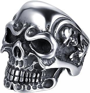 JewelryWe Gioielli Anello da Uomo Donna Acciaio Inossidabile Gotico Teschio Cranio, Colore Nero Argento(con Regalo Borsa),...