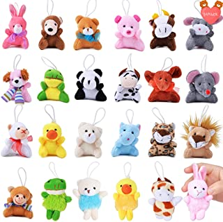 FUNNISM 24 Pack Mini Animal Plush Toy Assortment,Cute Small Stuffed Animal Keychain Set for Kids Party Favors,Stocking Stu...