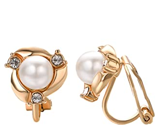 Clip earring Ivory pearl Round Earrings no Pierced Clip on Earrings for girl…