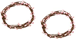 KMJ 6' Berries & Twigs Candle Ring/String, Set of 2 (Pink)