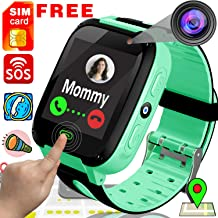 TURNMEON [Free SIM Card] Kids Smart Watch Phone Smartwatches - Cellphone Watch HD Touchscreen Anti-Lost SOS Call Girls Boys Voice Chat Remote Camera Flashlight (Green-Kids Watch)