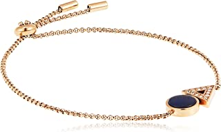 Fossil Women Cubic Zirconia Classic Rose Gold Plated Triangle Blue Mother of Pearl Toggle Bracelet