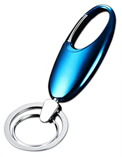 OLIVERY Keychain Solution with 2 Key Rings, Stainless Steel Key Chain in Box, Deep Sky Blue Color. The Perfect Combination of Luxury, Power & Elegance - Will Never Rust, Bend or Break