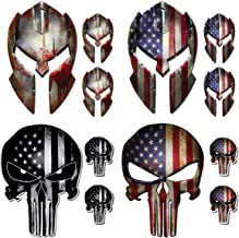 12 Pack Punisher Skull Molon Labe Decal Sticker Variety Pack American Flag Vinyl Decal Sticker Car Truck (12 Pack)