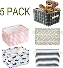 Foldable Storage Bin Basket,Foldable Fabric Storage Receive Basket with Handle Cotton Linen Blend Storage Bins for Makeup, Book, Baby Toy, 7.8 x 6.1 x 5.1 Inch (5 Count)