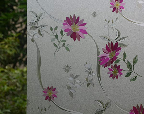 VSUDO Decorative Privacy Window Film No Glue Decor Static Cling Glass Sticker Window Tint For Home Or Office Living Room Bathroom Kitchen 1 Roll 35 4 By 78 7 90X200CM Purple Chrysanthemum