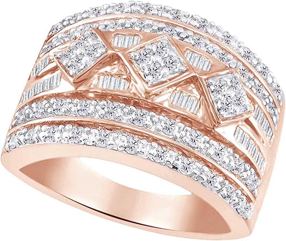 AFFY Kansas City Mall Ranking TOP3 Round Baguette White Natural Diamond Ring in Ros Band 14k