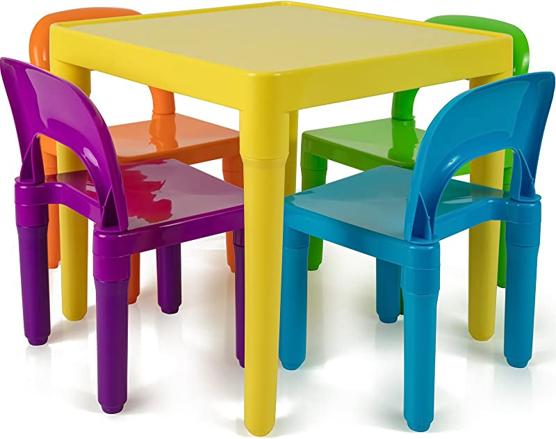 Kids Table And Chairs Set Toddler Activity Chair Best For Toddlers Lego Reading Train Art Play Room 4 Childrens Seats With 1 Tables Sets Little Kid Children Furniture Accessories Plastic Desk