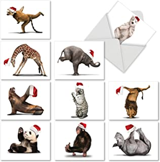 Yuletide Zoo Yoga Christmas Greeting Cards, Boxed Set of 10 Holiday Animals in Yoga Poses 4 x 5.12 inch, Assorted Yogi Animal Cards with Envelopes, Zoo Creature Christmas Notes, M6547XSG