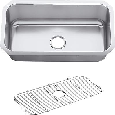 KOHLER K-5290-HCF-NA Undertone Preserve 31-1/4-Inch x 17-7/8-Inch Large Undermount Single-Bowl Kitchen Sink, Stainless Steel, ,