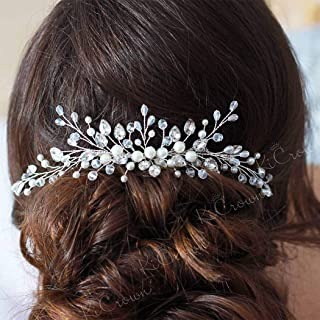 Barode Crystal Wedding Hair Combs Silver Pearls Bride Rhinestones Hair Accessories Bridal Headpieces for Women and Girls